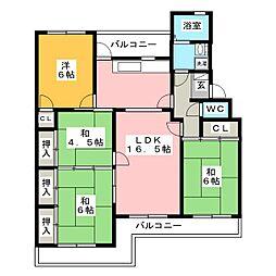 長丘ハイツ8棟[1階]の間取り