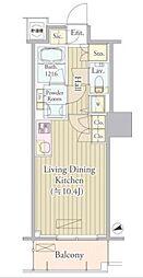 都営大江戸線 西新宿五丁目駅 徒歩7分の賃貸マンション 5階ワンルームの間取り