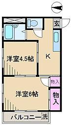東京都北区王子3丁目の賃貸マンションの間取り