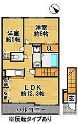 有野町二郎アパート[203号室]の間取り