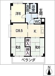 ハイツキマタ[1階]の間取り