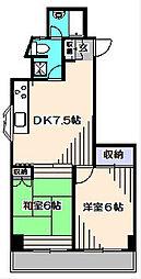 東京都西東京市北原町3丁目の賃貸マンションの間取り
