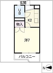 ワキタハイツ新館[2階]の間取り