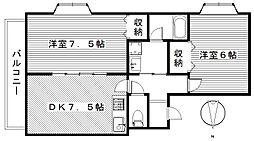 アイランドパレスC[2階]の間取り