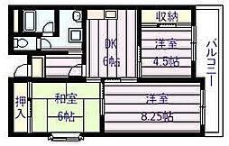 ユーネスト浅野[2階]の間取り