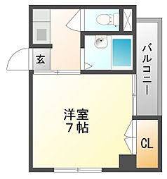 岡山県岡山市北区寿町の賃貸アパートの間取り