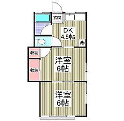 埼玉県東松山市松葉町1丁目の賃貸アパートの間取り