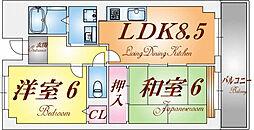 兵庫県神戸市長田区御船通2丁目の賃貸マンションの間取り