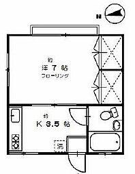 東京都世田谷区池尻2丁目の賃貸アパートの間取り