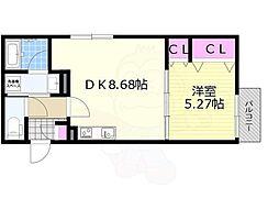 KTIレジデンス加島2 2階1DKの間取り