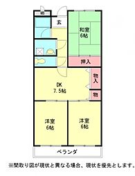 愛知県一宮市島崎1丁目の賃貸マンションの間取り