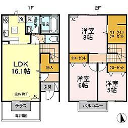 香川県高松市今里町1丁目の賃貸アパートの間取り