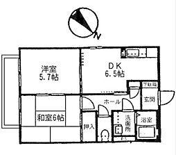 サーン山手住宅[B-201号室]の間取り