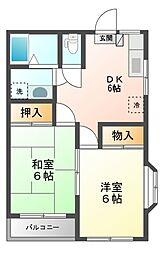 東京都三鷹市井口2丁目の賃貸マンションの間取り