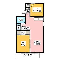 愛知県岡崎市西蔵前町2丁目の賃貸アパートの間取り
