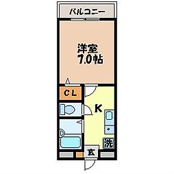 カルディア赤坂 3階1Kの間取り