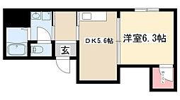 愛知県名古屋市昭和区楽園町の賃貸アパートの間取り