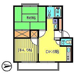 第6パナハイツ吉野[1階]の間取り