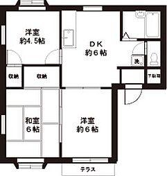 東京都福生市武蔵野台2丁目の賃貸アパートの間取り