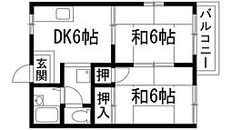 兵庫県川西市東多田3丁目の賃貸アパートの間取り