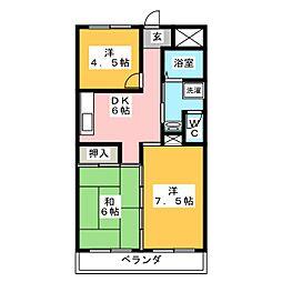 レジデンス海野[3階]の間取り
