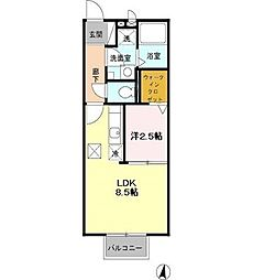 東京都東大和市中央2の賃貸アパートの間取り