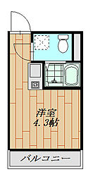 フォレストコート鷲宮 106号室 1階ワンルームの間取り