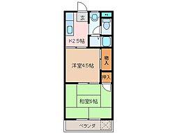 三重県松阪市駅部田町の賃貸アパートの間取り