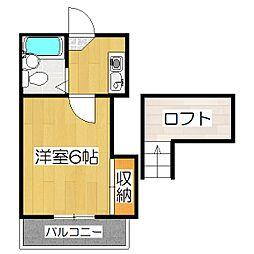 京都府京都市山科区厨子奥若林町の賃貸アパートの間取り