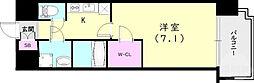 ワールドアイ神戸ハーバーランド 6階1Kの間取り