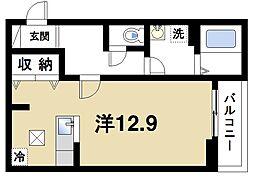 JR桜井線 桜井駅 徒歩6分の賃貸アパート 1階ワンルームの間取り