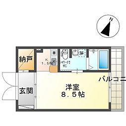 Sain-K (B) 1階ワンルームの間取り