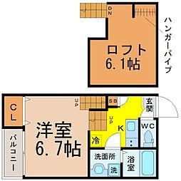 愛知県名古屋市中川区西日置1丁目の賃貸アパートの間取り