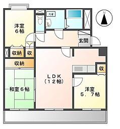 愛知県日進市栄2丁目の賃貸マンションの間取り