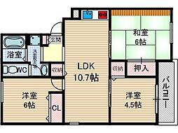 アリュールKOKUBO[1階]の間取り