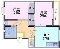 コーポ春田[1階]の間取り
