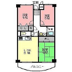 プレストコート壱番館・弐番館[1階]の間取り