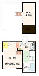 東京都葛飾区亀有5丁目の賃貸アパートの間取り