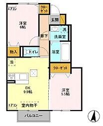 メゾンボヌールi[203号室]の間取り