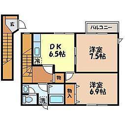 長崎県長崎市若竹町の賃貸アパートの間取り