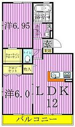 東京都足立区花畑6丁目の賃貸アパートの間取り