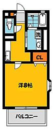 栃木県宇都宮市滝の原1丁目の賃貸アパートの間取り