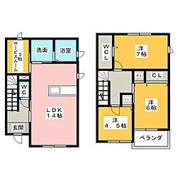 [一戸建] 愛知県清須市阿原宮前 の賃貸【/】の間取り