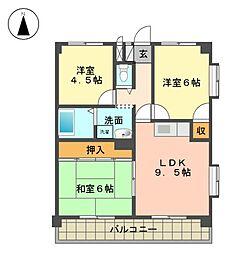 愛知県名古屋市名東区貴船2丁目の賃貸マンションの間取り