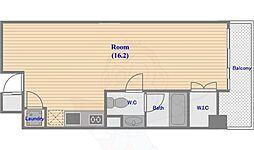 キャビンアリーナ赤坂 3階ワンルームの間取り