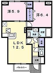 兵庫県揖保郡太子町東南の賃貸アパートの間取り