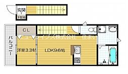 京阪本線 大和田駅 徒歩10分の賃貸アパート 2階1LDKの間取り