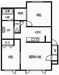 グランステージVI 1階2LDKの間取り