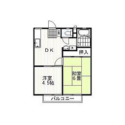 静岡県三島市大場の賃貸アパートの間取り