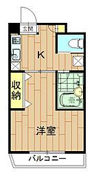 神奈川県川崎市中原区上新城1丁目の賃貸マンションの間取り